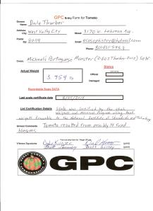 Thurber, Tomato, Michael's Portuguese Monster (3.754 DT 2014)(2.602 DT 2012) GPC Entry Form